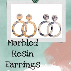 NWT (2) Pairs Marbled Resin Earrings